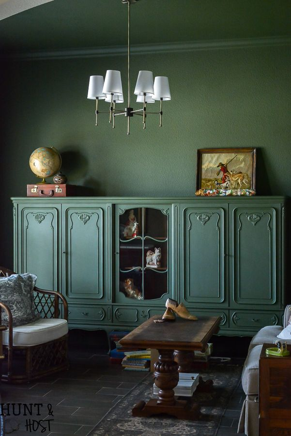Moody Green Study Vintage Bookcase Home Office Furniture Furniture