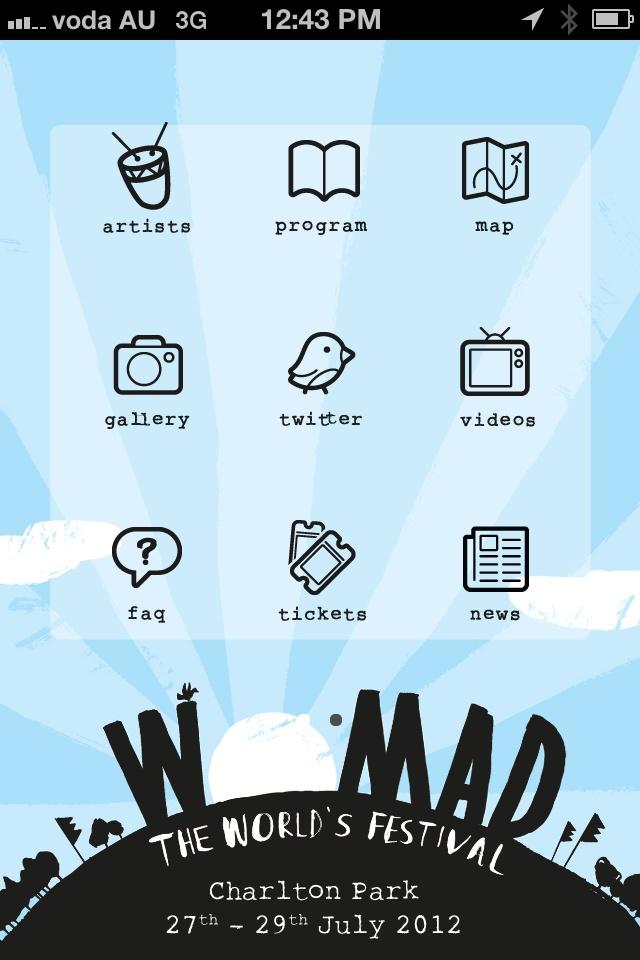 WOMAD 2012 iPhone App @WOMADCHARLTONPK