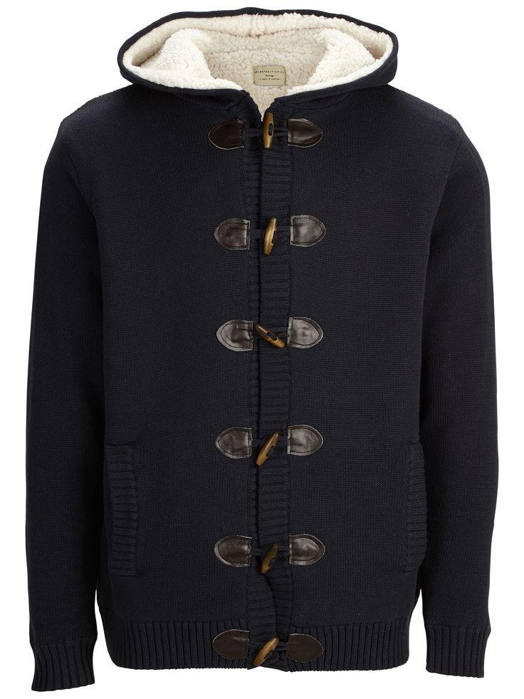 SELECTED Cardigan bleu marine dufflecoat doublé Kelm - Vêtements homme, manteau homme, parka homme