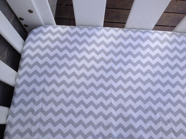 Image of Grey chevron fitted cot sheet