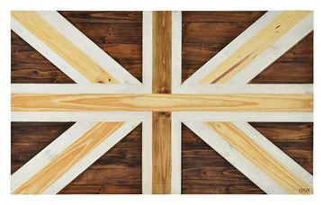 $199, Lumber Jack Wall Art W6259, 32.7'' x 23.1'' x 4'', Different finishes of wood are combined to form a union jack in this rustically appealing piece.