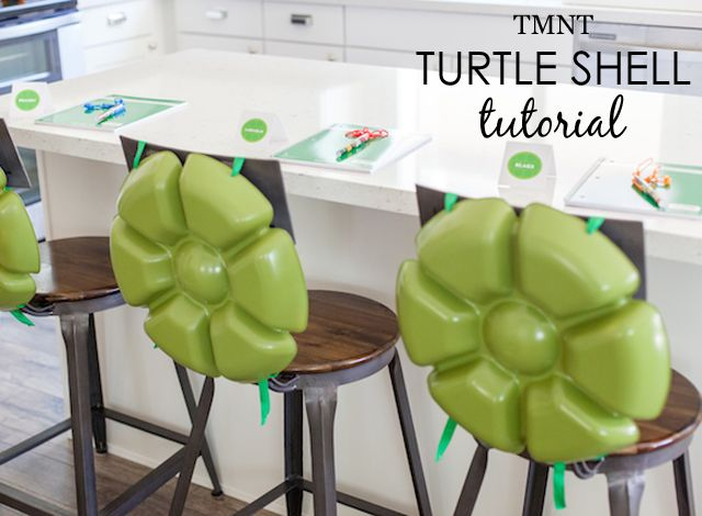 Rebecca Propes from Petite Party Studio is back to share a simple DIY to create TMNT turtle shells. They're perfect for your little turtle this Halloween!