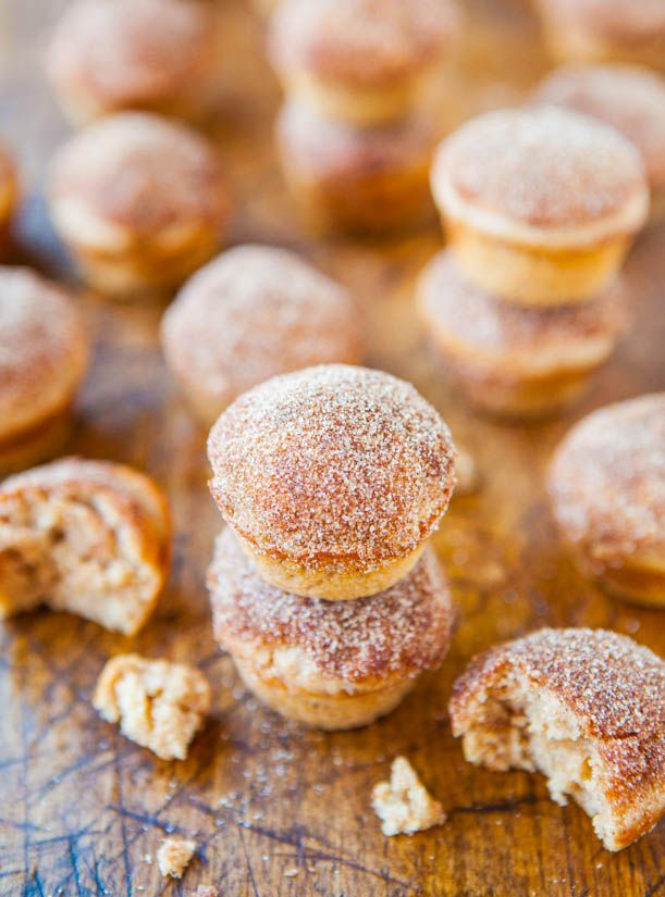 Cinnamon Sugar Mini Donut Muffins Recipe    averiecooks.com #donut #muffin