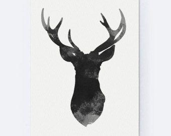 Ensemble de 6 cerfs Figurine Art Print Teal Home par Silhouetown