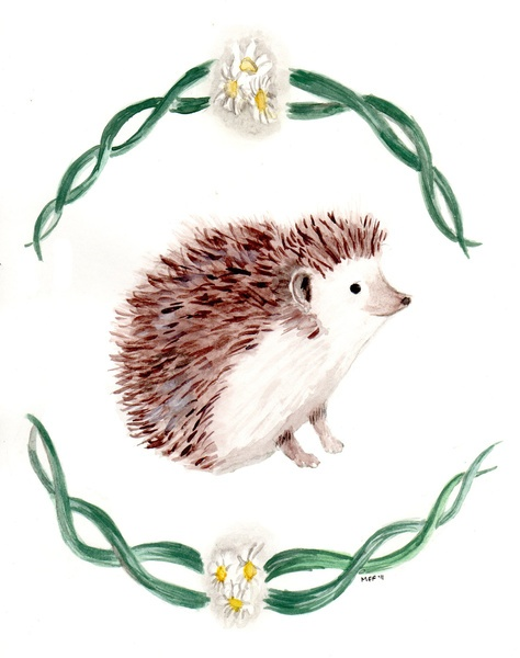 Hedgehog Art Print by Mari Makes I have these notecards and I love them!