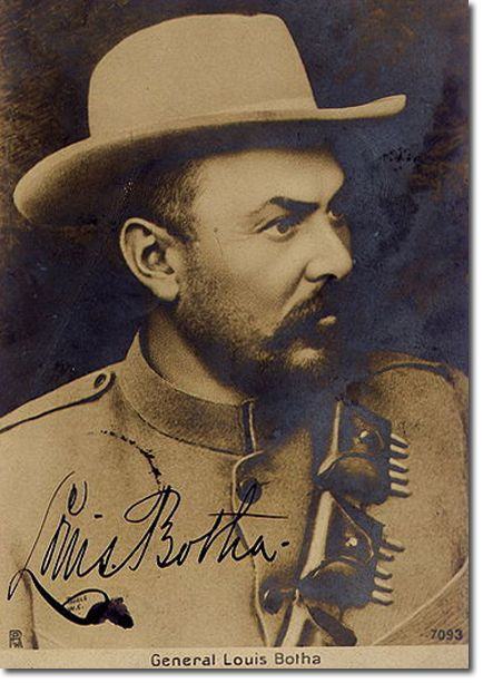 General Louis Botha - A Boer got off his horse, got down on one knee and raised his Mauser rifle to bear at a range of 40 yards. Churchill went for the pistol in his belt but it wasn't there- it was on the train. He was defenceless so he surrendered.....