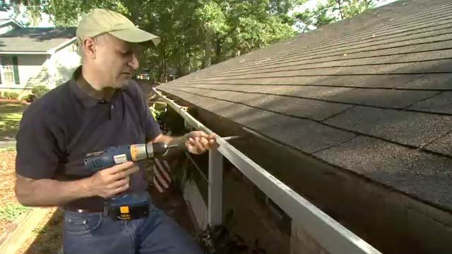 Replacing gutter spikes with steel gutter screws provides a more secure alternative and will prevent them from pulling loose or sagging.