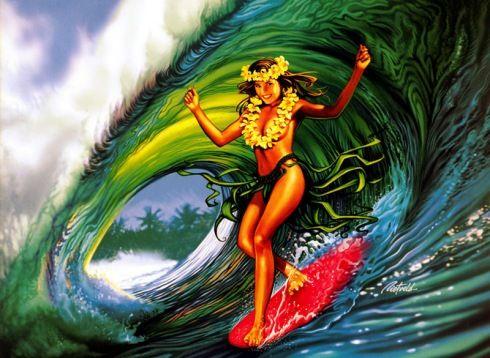 hawaiian surfing Hula Girl from surf artist Rick Reitveld