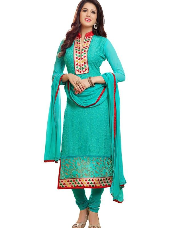 Ravishing Aqua Blue Designer Salwar Suit - 40% Off On Salwar Suits - Diwali Offers