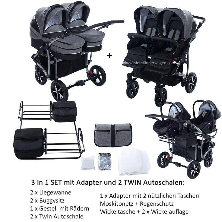 Twin Zwillingswagen 2 In 1 Set Mit Adapter Und 2 Autoschalen In 2020 Baby Strollers Stroller Baby