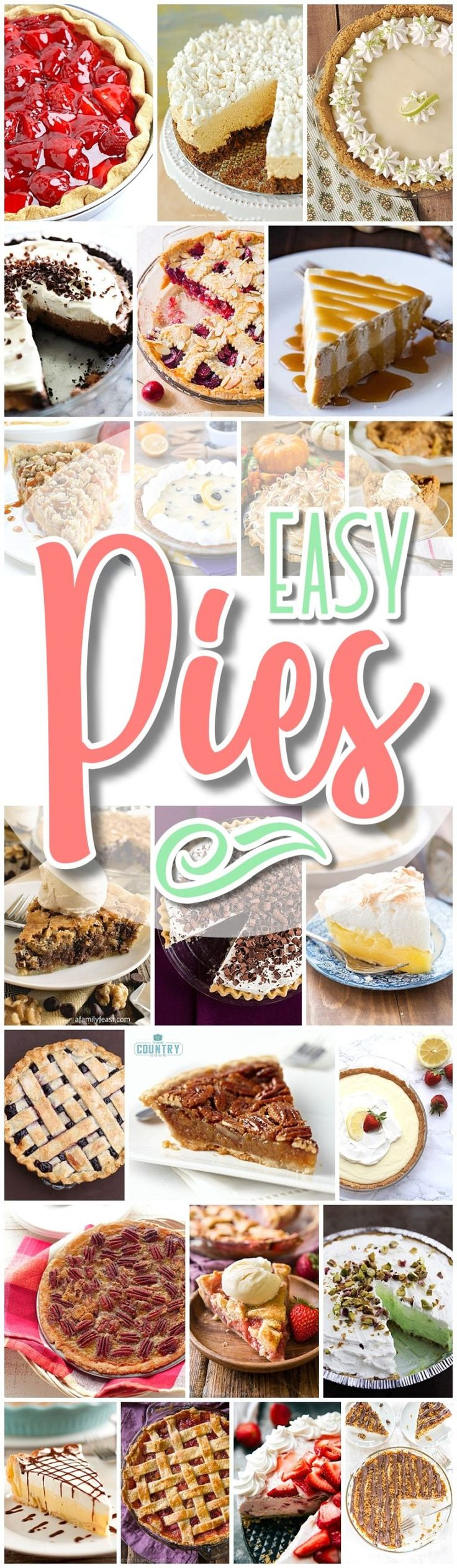 Favorite EASY Pies Recipes - Thanksgiving and Christmas Holiday Dinner Desserts - No-Bake + Bake Musts for Holidays and Party Menus - Dreaming in DIY - Perfect for for Easter and Mother's Day Spring and Summer brunch dessert tables, 4th of July barbecues, summer potlucks, neighborhood block parties and birthdays.