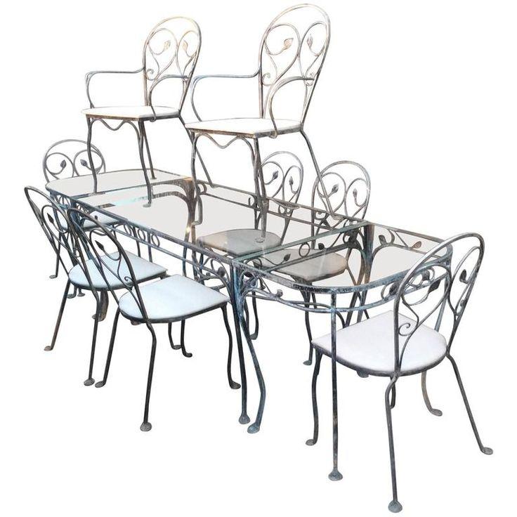 Great Vintage Salterini Wrought Iron Dining Set with Eight Chairs and Demilunes Gartenm belStahlm belGartenwerkzeugeSchmiedeeisenEss setsSalteriniIrons