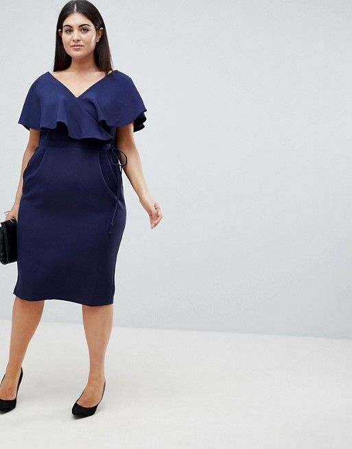 73874849dbcf4 DESIGN Curve Ruffle Wrap Midi Dress | StitchFix Style Inspiration ...