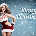 Merry Christmas Weihnachtskarte mit Sexy Weihnachtsfrau
