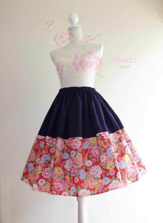 Japanese pattern cotton Skirt Red  Flower and Navy Blue  by Hime21, ¥5500