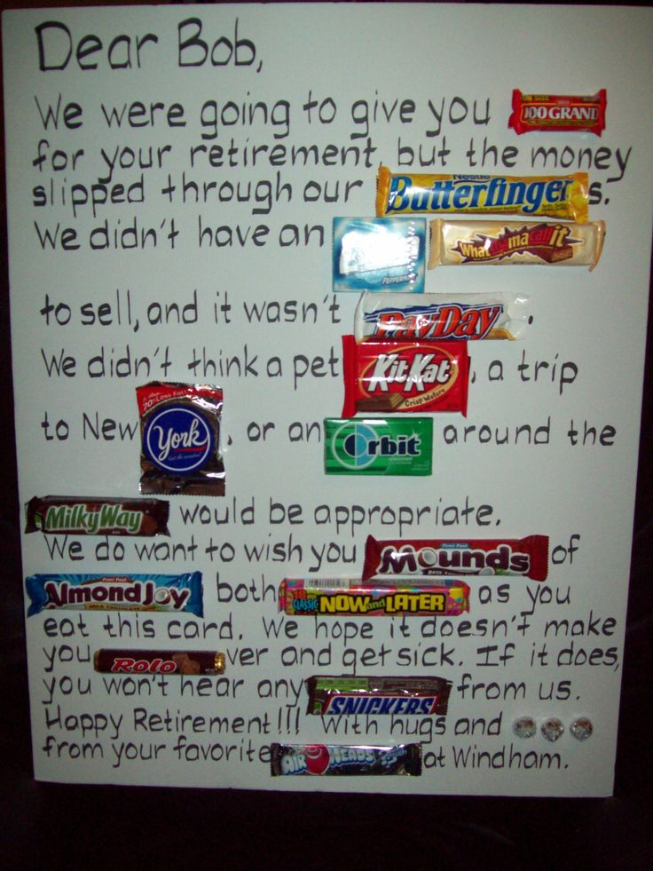 Candy Retirement  or even a birthday or travel card........could be designed around a number of celebrations.............