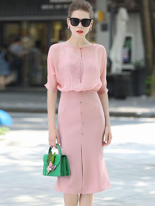Pink Two-piece Front Split Midi Dress