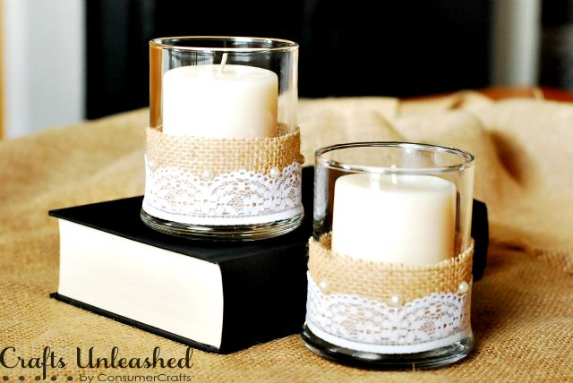 Beautiful Burlap and Lace Candle Vases