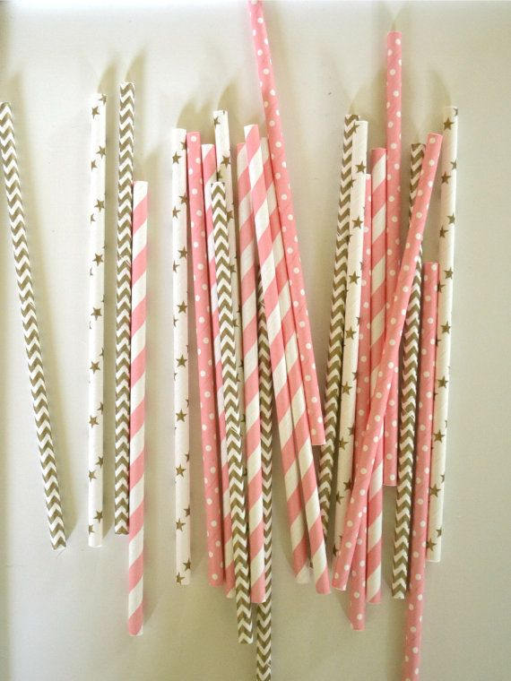 Ballerina Paper Straws // GOLD & PINK // Stripes, Stars and Dots // Princess party // Baby shower // Drinking Straws // Cake Pops on Etsy, $1.59