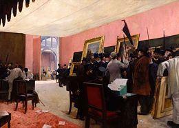 Une séance du jury de peinture au Salon des Artistes français. Gervex