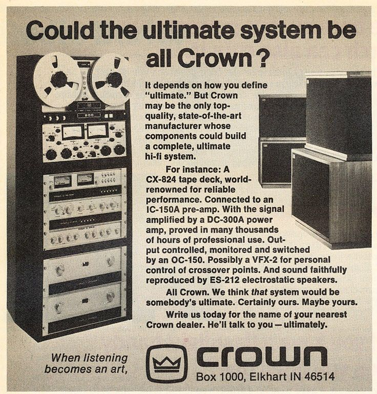 Ad for Crown studio recorder and other Crown equipment.