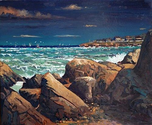 "Alex McKenna, ""Razor Boats,Balbriggan Evening"" #art #rocks #water #sea #razor #boats #Balbriggan #waves #sea #coast #evening #twilight #painting #DukeStreetGallery"