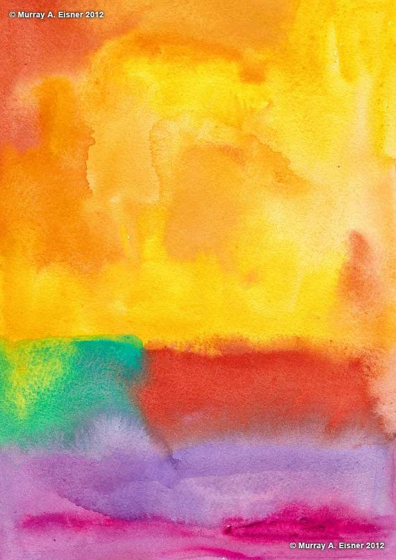 yellow, turquoise, orange and violet watercolor painting: Colors Palette, Watercolor Paintings, Strokes Me Paintings, Colors Scapes, Violets Watercolor, Abstract Paintings, Bold Colors, Colors Abstract
