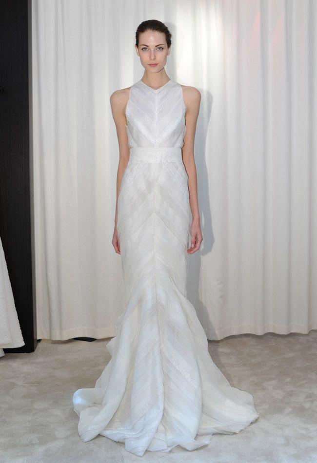 Pleated Trumpet Wedding Dress   J. Mendel Fall 2014 Wedding Dresses   Kurt Wilberding   The Knot Blog