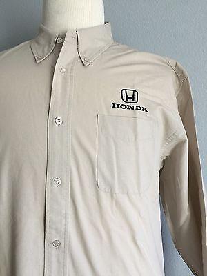 Mens Shirt XL Honda Car Dealer Salesman Button Front Long Sleeve Sewn Logo