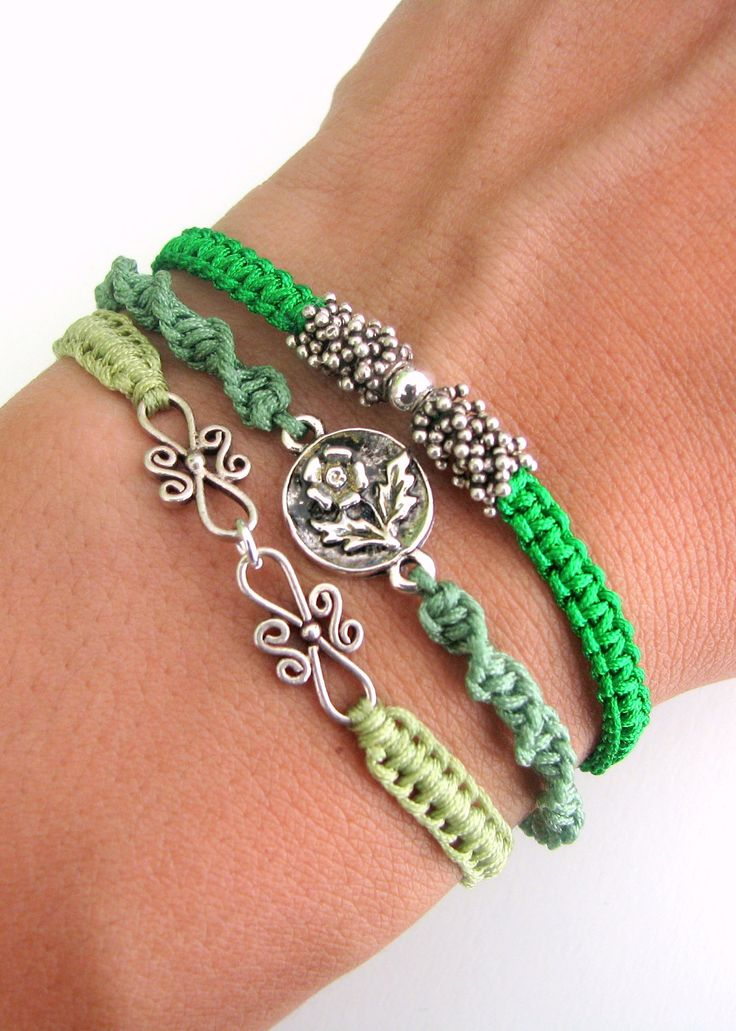 Bohemian Bracelet Stack with Silver Vermeil Beads and Silver Connectors - Three Macrame Bracelets.