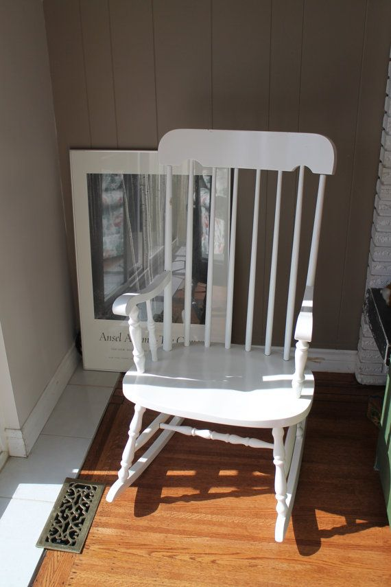 White Wooden Rocking Chair Scandinavian Rocker Durable Finish Roc