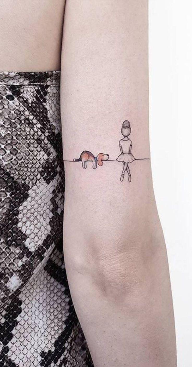 Unique Dog Ballerina Landscape Back of Elbow Tattoo Ideas for Women -  ideas únicas del tatuaje del pequeño perro para las mujeres - www.MyBodiArt.com #uniquetattooideas