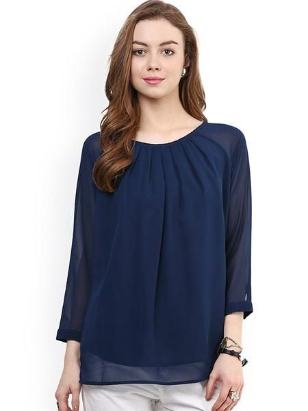 LadyIndia.com # TOPS & SHIRTS, Blue Solid Color Georgette Top For Women Round Neck With 3/4 Sleeve Women Tops, Casual Wear, Summer Wear, TOPS & SHIRTS, Western Wear, https://ladyindia.com/collections/western-wear/products/blue-solid-color-georgette-top-for-women-round-neck-with-3-4-sleeve-women-tops