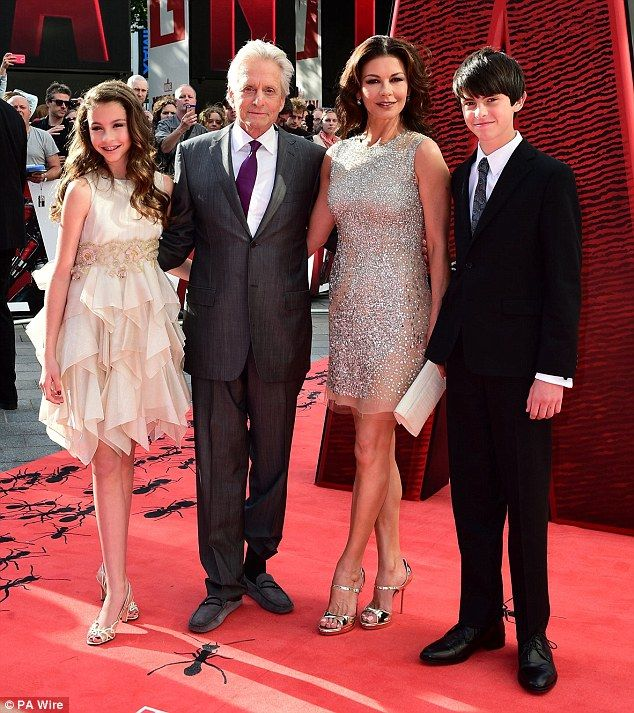 Family support system: Michael Douglas was joined by his stunning wife Catherine Zeta-Jones and their children Dylan and Carys at the European premiere for Marvel's Ant-Man in London on Wednesday, 8 July 2015
