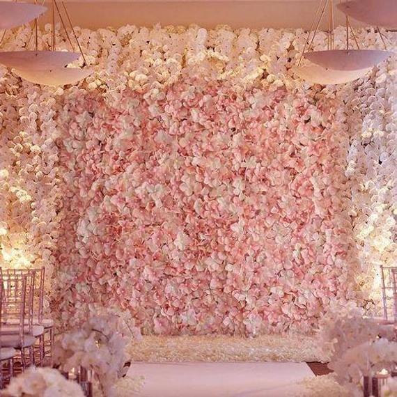 8 Foot Wall Blush Ivory Flower Wall Pink Panels Hydrangeas Etsy Flower Wall Wedding Flower Wall Wall Backdrops
