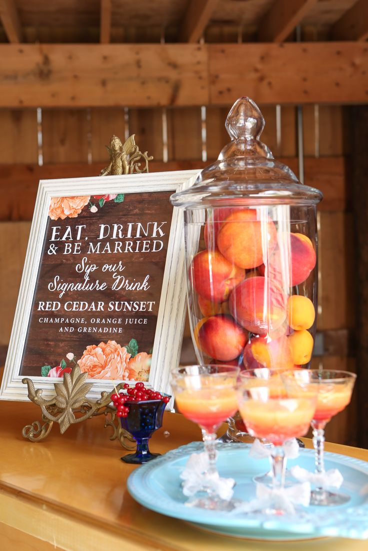 Fun #fall #wedding #signature #drink the Red Cedar Sunset...Champagne, OJ and Grenadine! Stylist: Charming Grace Events | Photo Credit: @freshlookphotog  | Stationary: Signatures by Sarah www.CharmingGraceEvents.com