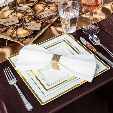"""5510IV 10"""" Square Gold Ivory Plastic Dinner Plates @smartyhadaparty"""