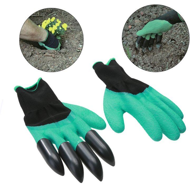1 Pair Sarung Tangan Kerja Lateks Pembangun Taman Dengan Plastik Cakar Untuk Menggali Penanaman Rumah Pembersih Sarung Tangan Rumah Tangga Sarung Tangan Pelindung