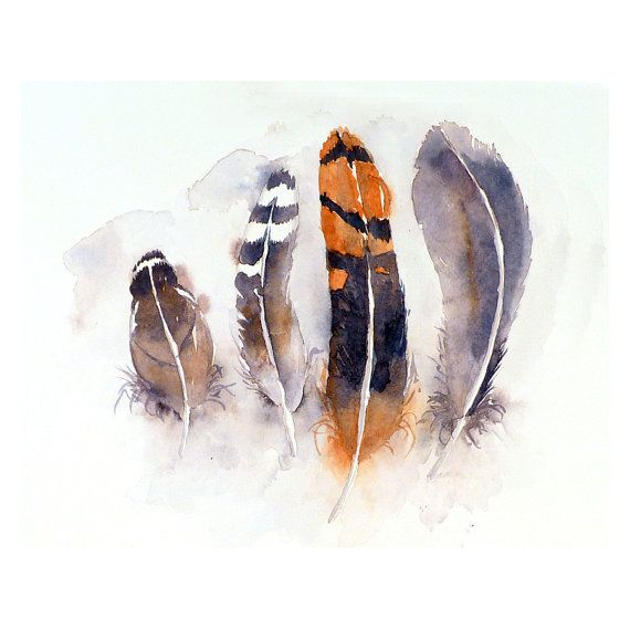Feather Art Original Painting Watercolor Bird Feather