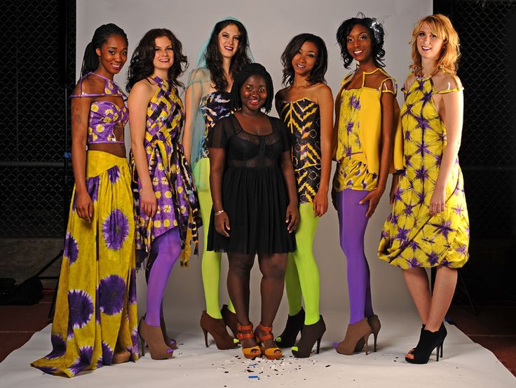 Malaria Fighting Fashion - fashion design student matilda ceesay poses with models outfitted in the 'njehringe' pieces