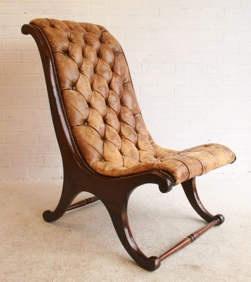 Regency leather button library chair