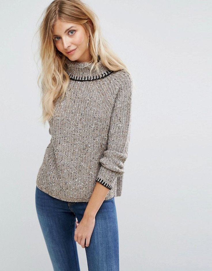 Get this QED London's turtleneck now! Click for more details. Worldwide shipping. QED London Chunky Roll Neck Jumper - Cream: Jumper by QED London, Chunky knit, Roll neck, Contrast stitching, Regular fit - true to size, Machine wash, 40% Acrylic, 40% Polyester, 10% Elastane, 10% Nylon, Our model wears a Small/Medium and is 180cm/5'11 tall. (jersey de cuello vuelto, poloneck, roll neck, polo neck, rollkragenpullover, jersey de cuello ruso, jersey col roulé, jersey con collo a risvolto…