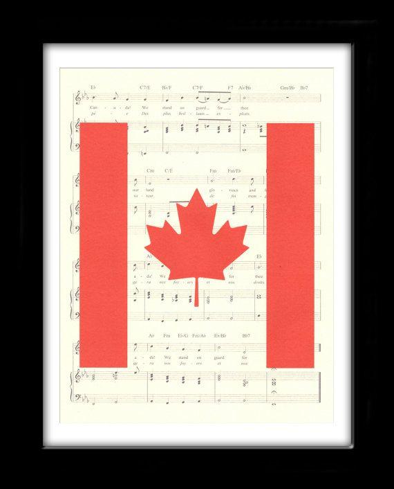 Canada Flag Art Print, O Canada Music Sheet, Book Art, Canadian Flag Art, Canadien Flag Art, Wall Hanging, Gift, Dorm Room, Wall Decor,
