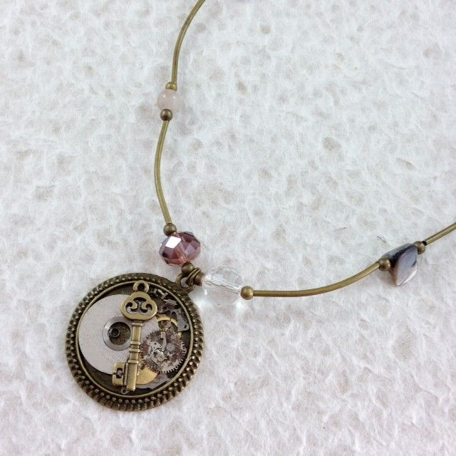 Steampunk Pendant with Crystals and Shell Beads