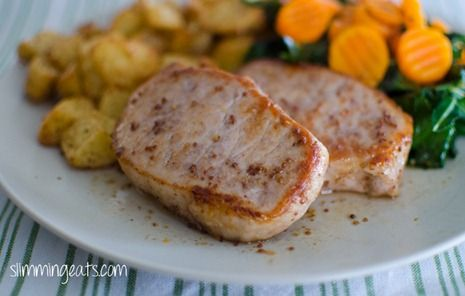 Honey Mustard Glazed Pork Loins with Roasted Carrots on Cheesy Potato Mash | Slimming Eats - Slimming World Recipes