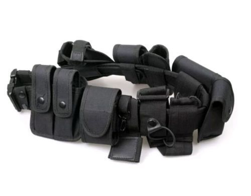 Security Guard Police Style Utility Kit Tactical Belt w/ Pouch System Duty Belt