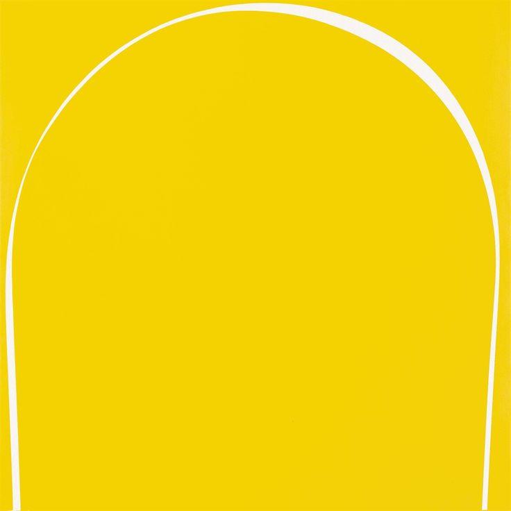 Ian Davenport (British, b. 1966), Poured Painting: Yellow, White, Yellow, 1996. Household gloss paint on fibreboard, 183 x 183.2 cm.