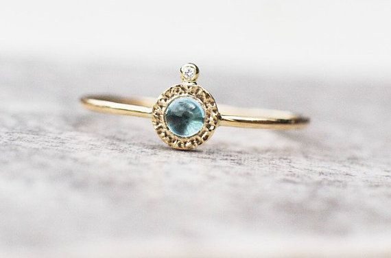 Unique blue topaz and diamond ring handcrafted in 14k by ARPELC