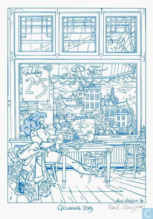 Cartes postales - Cafés - Gelukkig 2015 - bonne année 2015