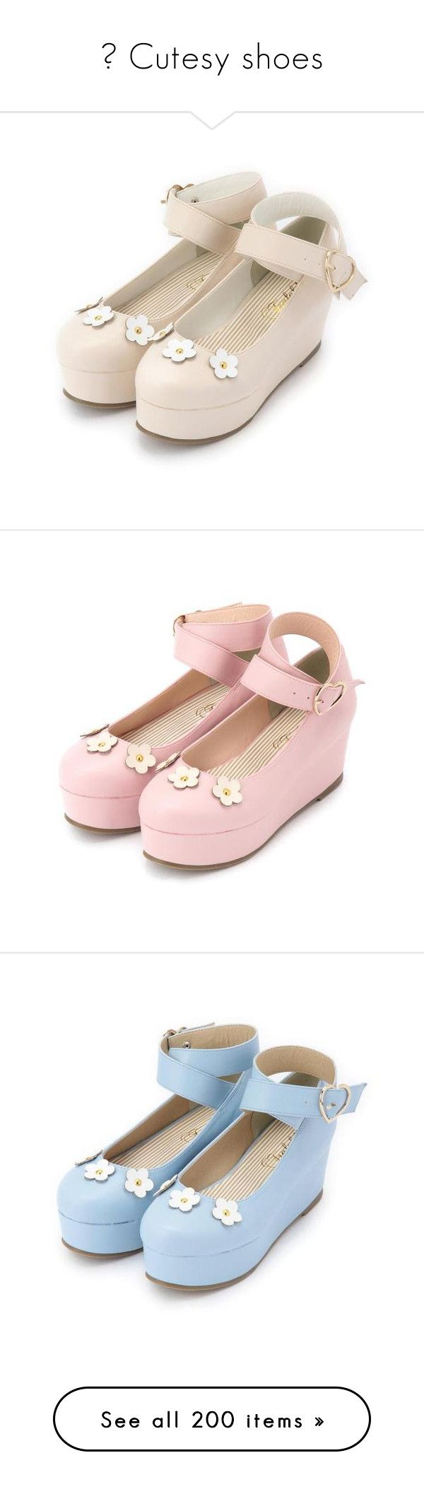 """""""♡ Cutesy shoes"""" by cutesy-items ❤ liked on Polyvore featuring shoes, kawaii, blue, yellow, flats, flat pumps, flat heel shoes, flat shoes, sandals and white"""